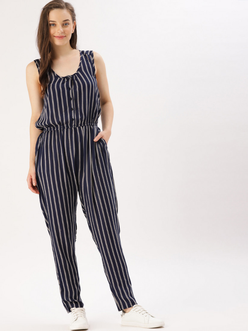 Navy Blue & Off-White Striped Basic Jumpsuit