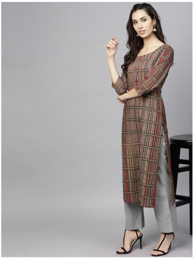 brown designer kurta with pants