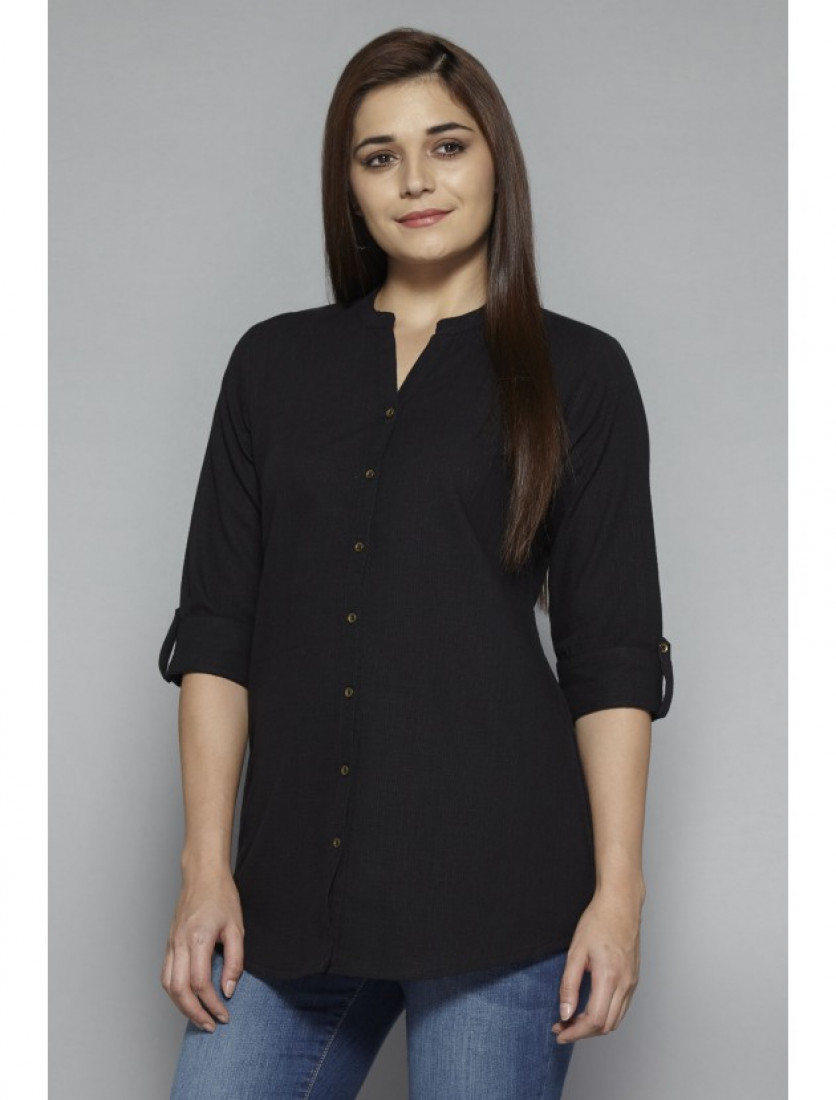 Radha's short black cotton top tunic