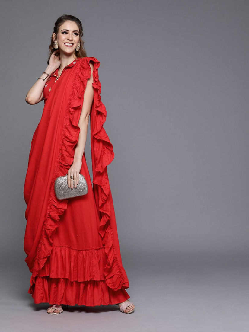 Couture Red Solid Viscose Rayon Ruffled Saree