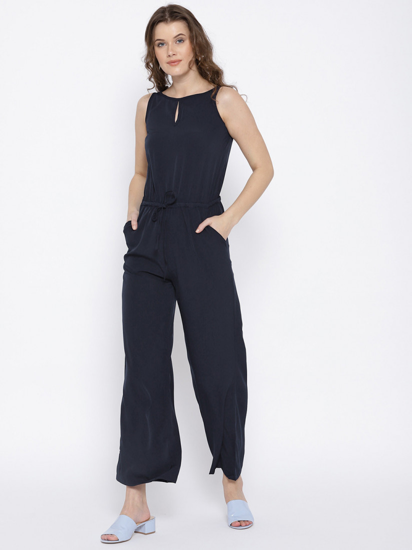 Navy Blue Solid Basic Jumpsuit