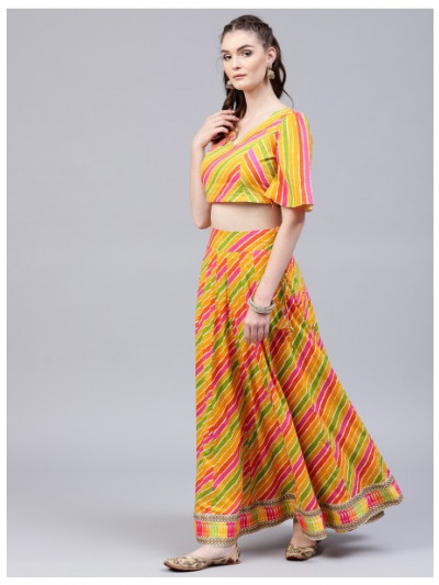 Multicolored Leheriya Printed Lehenga With Choli & Dupatta