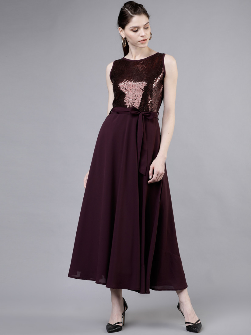 Women Purple Embellished Fit and Flare Dress