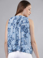 Women Blue & White Printed A-Line Top