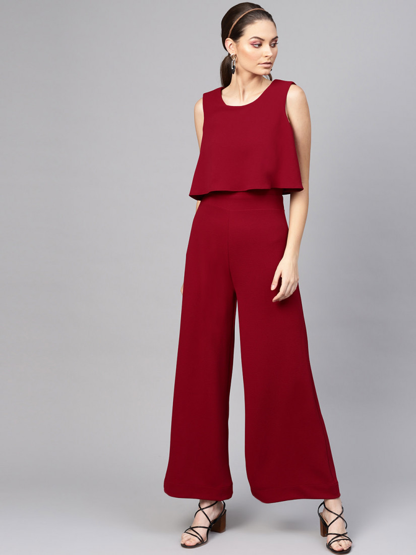 Women Maroon Solid Layered Basic Jumpsuit