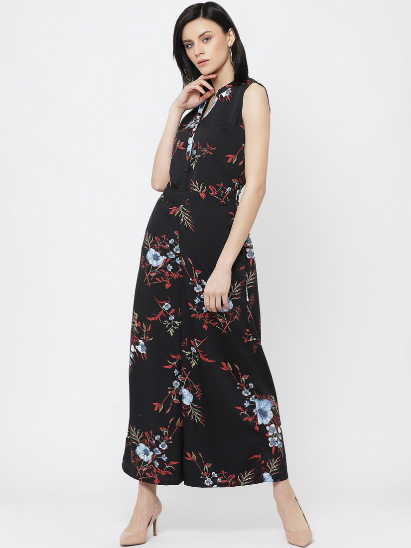 Women Black & Red Printed Basic Jumpsuit