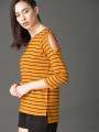 Women Mustard Yellow & Black Striped Top With Cutout Sleeve