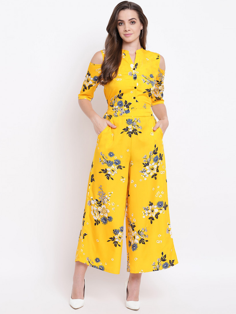 Women Mustard Yellow & Blue Printed Cold-Shoulder Basic Jumpsuit
