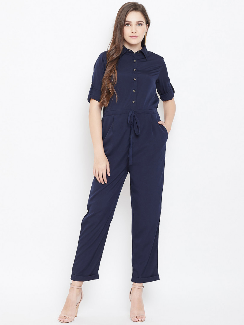 Women Navy Blue Solid Basic Jumpsuit