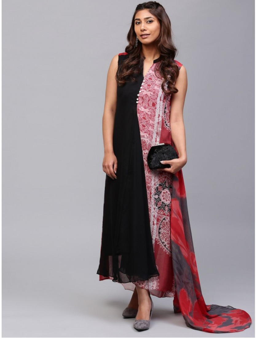 pink and blACK Designer Long Dresses