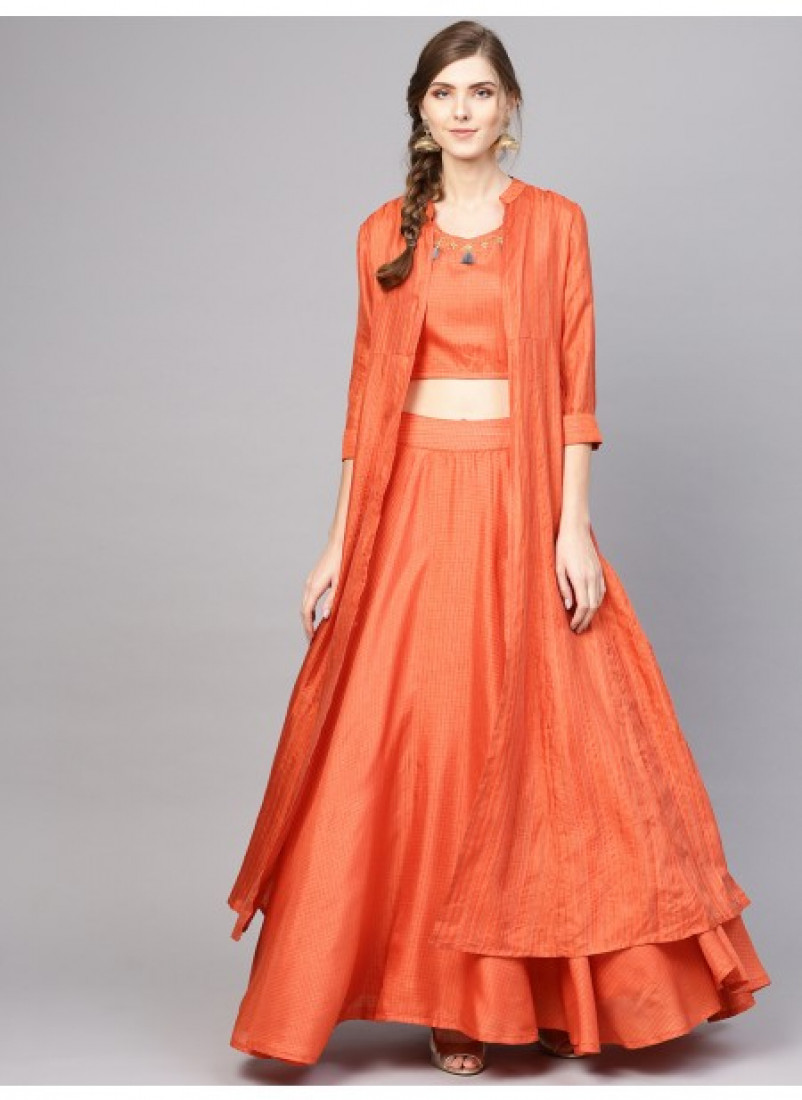 Orange Self Designed Lehenga Choli With Jacket